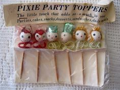 Vintage PIXIE PARTY TOPPERS Spun Cotton Cupcake Sandwich Topper Japan New in Package by ElizabethJaneCottage on Etsy
