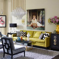 Punchy eclectic mix of color and pattern.  Love the Slim Aarons print and fab citron sofa.