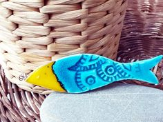 Ceramic Art Handmade Mediterranean Fish Ornament Turquoise Yellow Rustic Decorative Collectible Summer Decoration Home Wall Hanging by JIJIMA on Etsy