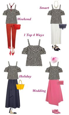 Capsule wardrobe, One summer top, four ways to wear,