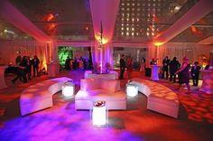 #White #furniture #rentals with #uplighting