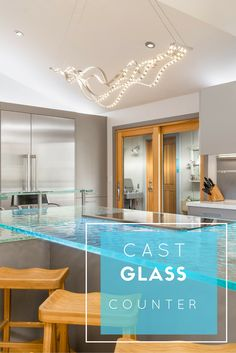 Cast glass countertops have textures on the bottom and can even be light up with LED - how cool is that for a kitchen counter! Click through to learn more