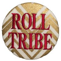 """Metallic chevron 3"""" embroidered fabric game day button with Roll Tribe in garnet collegiate font."""