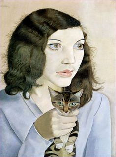 Lucien Freud - Girl with a kitten  Art Experience NYC  www.artexperiencenyc.com