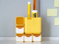 Details we like / Boxes / yellow / storage / Office suply / Home office / System in a Grid / at Design Binge
