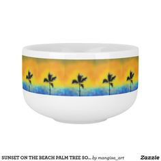 SUNSET ON THE BEACH PALM TREE SOUP MUG ART