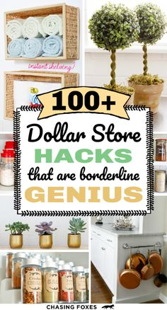 Dollar store hacks that are perfect for DIY projects. These dollar store crafts will really help you organize, clean and decorate your home! I've become a bit of a connoisseur for dollar store hacks. Here are of the best ones that are simply ingenious! Dollar Store Hacks, Dollar Stores, Dollar Store Decorating, Small Porch Decorating, Dollar Items, Thrift Stores, Decorating Ideas, Decor Ideas, Homemaking