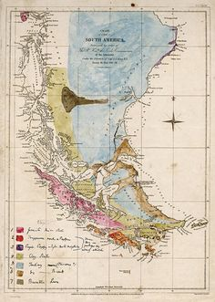 A beautiful map drawn by Charles Darwin showing the geology of South America, from the Beagle's 2nd voyage 1831–1836