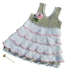 B Knit Baby Dress, Knitted Baby Clothes, Crochet Clothes, Crochet Dresses, Baby Girl Crochet, Crochet For Kids, The Dress, Dress For You, Beautiful Crochet