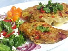 Smažený hermelín v zeleninovém bramboráku Food And Drink, Meat, Chicken, Cubs