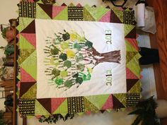 Art Auction quilt that my mom made from a handprint tree that my 3rd graders made. Beautiful and so special! I'm not sure if I want to auction it off!