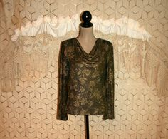 Vintage Sparkly Gold Blouse Gold Tapestry Blouse by MagpieandOtis