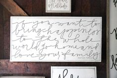 """""""If you want to bring happiness tl the whole world, go hoke and love your family."""" -Mother Teresa Love Your Family Aedriel by HouseofBelongingLLC on Etsy Life On Virginia Street, Love Your Family, Wall Anchors, Mother Teresa, Inspiration Wall, Printing Labels, Wood Signs, Bring It On, Lettering"""