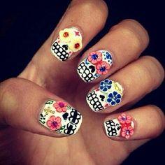sugar skull nail art designs
