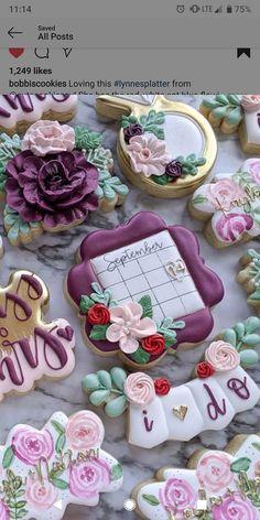 Fancy Cookies, Iced Cookies, Holiday Cookies, Cupcake Cookies, Sugar Cookies, Cookie Designs, Cookie Ideas, Wedding Shower Cookies, Engagement Cookies