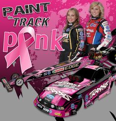 courtney force breast cancer awareness   Courtney and Brittany Force will be painting the track a different ...