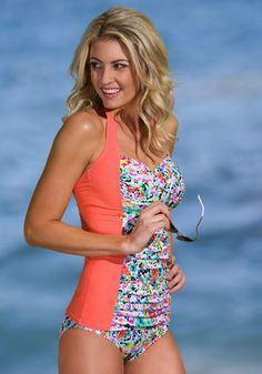 486b3547ea Block Ruched Tankini in Sunrise Coral Garden Flowers  There isn t a more  flattering
