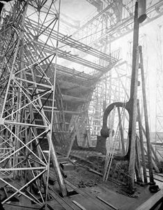 The Keel of the Titanic during construction in Belfast.