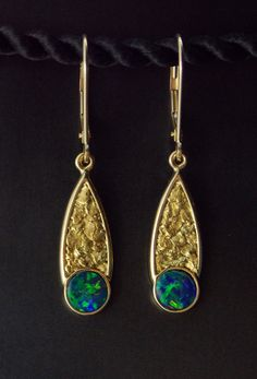 Australian Opal and Gold Nugget Earrings