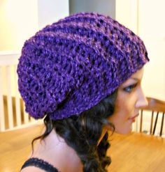 Lovely Handmade Eggplant Colored Crocheted Slouch/Beanie/Hat