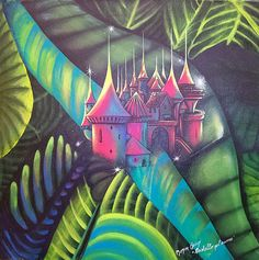 "Check out Art Original Painting   Surreal Landscape & Scenic ""Castle into Heart"" on artistatoscana"