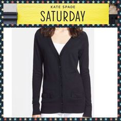 """KATE SPADE V Neck Black Cardigan 70% Wool 30% Cashmere Black with Black Buttons. Model is wearing a slightly different style. This sweater has two pockets on one side as noted in the real sweater. Dry clean. Kate Spade """"Let Loose"""" kate spade Sweaters Cardigans"""
