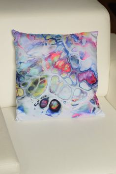 Colorful Cushion Decorative Pillow, Contemporary Decor, Abstract Art Pillow, Based on Original Fluid Painting, Rainbow Colors Colourful Cushions, Maya, Decorative Pillows, Tapestry, Colorful, Contemporary, Painting, Etsy, Vintage