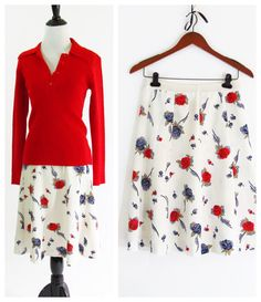 Vintage 1970's Skirt  Mid length Red White and by PonsonbyVintage