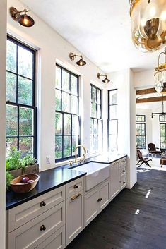 Kitchen remodel tips What objects on your own mantle should be appropriately balanced. A mantle which is unbalanced may affect the whole look of a room. White Kitchen Cabinets, Kitchen Cabinet Design, Kitchen White, Kitchen Windows, Dark Cabinets, Shaker Cabinets, White Kitchens, Country Kitchen, Black Countertops White Cabinets