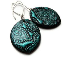 Mehndi earrings in teal - black, paisley textured polymer clay jewelry