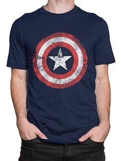 1639e6f59 Amazon.com: Marvel Captain America Mens' Avengers Captain America T-Shirt: