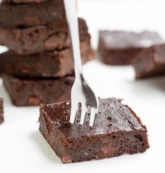Fudgy Zucchini Brownies. A super fudgy brownie that mixes up easily in your food processor! Lower in sugar, flour and fat than many traditional brownie recipes.