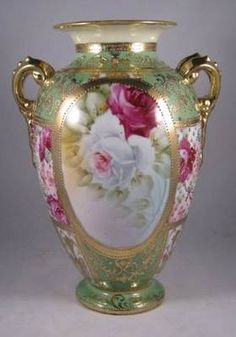 "Antique Nippon Heavily Beaded Vase with Pink & White Roses ""Maple Leaf"" #52"