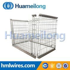 Heavy duty industry storage foldable hot dip zinc wire cage pallet