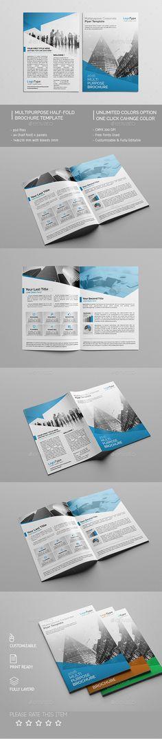 Bi-Fold Business Brochure Business brochure, Brochure template and - half fold brochure template