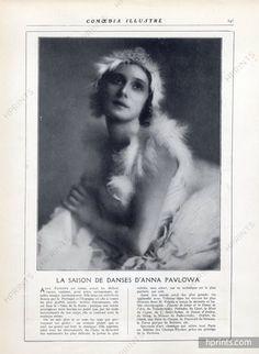 Anna Pavlova 1920 Russian Dancer, La Mort du Cygne, Portrait
