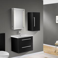 BALTIC 600mm Wall Hung Black Gloss Basin Vanity Unit + Side Cabinet