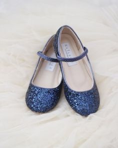 Girls Shoes NAVY Rock Glitter Maryjane Ballet Flats, Flower Girl Shoes, Holiday Shoes, Party Shoes ,Kids Shoes- Kailee P Navy Flats, Navy Blue Shoes, Flower Girl Shoes, Little Girl Shoes, Baby Girl Shoes, Flower Girls, Blue Flower Girl Dresses, Girls Dress Shoes, Shoes