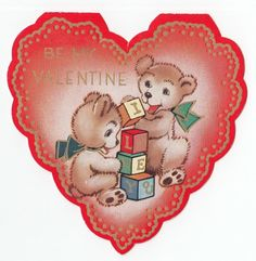 Vintage Greeting Card Valentine's Day Bear Baby Blocks V43