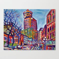Harbour Centre From Gastown - Colorful Acrylic City Art Stretched Canvas by Morgan Ralston - $85.00