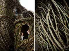 'Ballroom' stickwork sculpture by Patrick Dougherty at Federation Square. Photo – Julie Renouf.