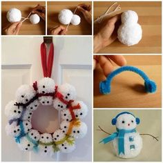 Looking for quick and easy snowman craft ideas? Here you'll find step-by-step instructions for how to make these cute Christmas snowman decorations using pom-poms. A great Christmas craft project for kids! Christmas Craft Projects, Craft Projects For Kids, Christmas Sewing, Holiday Crafts, Christmas Crafts, Walmart Christmas Decorations, Snowman Decorations, Snowman Crafts, Snowman Wreath