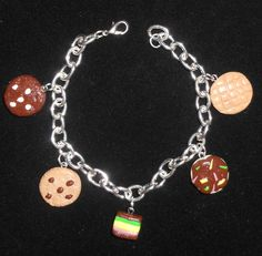 crazy for cookies bracelet,handmade clay charms