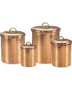 Keep your kitchen ingredients organized with these copper canisters! Get them here: http://www.bhg.com/shop/old-dutch-international-old-dutch-international-copper-clad-stainless-steel-hammered-canister-set-of-4-p5017d9d682a797dc894ab0c0.html?mz=a