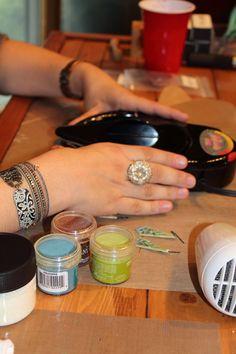 Melt Art techniques for jewelry. Create faux enamel earrings using embossing powders in a Melting Pot!