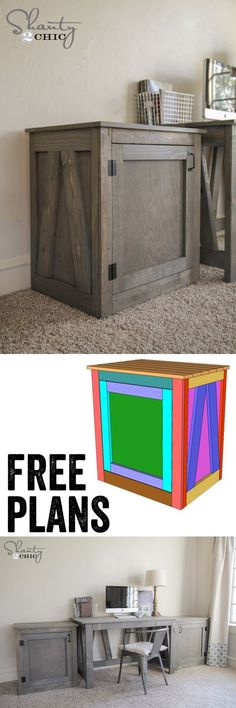 Free Woodworking Plans - DIY Desk Table and Nightstand - Great hidden storage! www.shanty-2-chic.com: