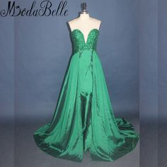 Modabelle Green Crystal Beaded Long Prom Dresses 2017 Sexy Sweetheart Party Dresses Prom Sleeveless Satin Girls Homecoming Dress