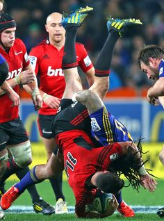 Ma'a Nonu tackles the Crusaders' Tom Marshall