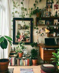 51 Trendy Bedroom Boho Diy Home Office Retro Home Decor, Diy Home Decor, Home Decor Bedroom, Living Room Decor, Bedroom Ideas, Bedroom Plants, Diy Bedroom, Design Bedroom, Bedroom Inspo