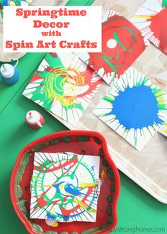 Spin Art Crafts - Springtime Decor Ideas for Children with Melissa & Doug *This painting project for kids looks like so much fun. What a fun way to celebrate spring.